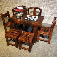 功夫茶几客厅小茶桌老船木小型茶桌椅实木简约功夫喝茶几中式仿古泡茶台客厅阳台 组装
