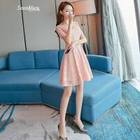 淑女小礼服女2018夏季新款粉色短袖蕾丝a字连衣裙修身显瘦初恋裙 粉色
