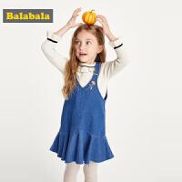 巴拉巴拉童装宝宝牛仔背带裙女童连衣裙小童秋装2019新款儿童裙子