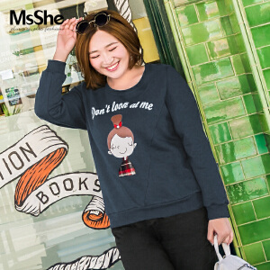 MsShe大码冬装女胖mm2017新款纯棉卡通印花圆领套头卫衣M1740495