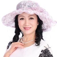 夏季防晒太阳帽可折叠 户外遮阳帽中年女士妈妈凉帽