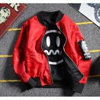 男童两面穿飞行员夹克2018新款中大童春装韩版棒球服外套拉链开衫 红色(薄款) 偏小一码