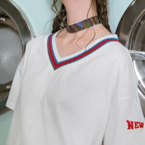 PASS潮牌2018新款夏装拼色领口短袖女宽松袖子字母印花v领t恤上衣