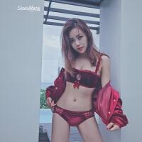 本命年红色内衣女聚拢胸罩无钢圈小胸性感丝绒调整型文胸