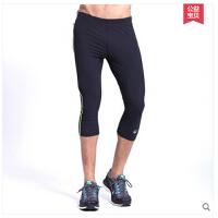 新款田径训练健身裤 运动紧身裤 男速干跑步七分裤