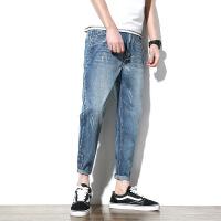 夏季哈伦裤子日系大码男装休闲裤牛仔裤长裤男 蓝色
