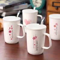 包邮 樱花波纹陶瓷杯 粉色系创意马克杯 带盖带勺咖啡杯 早餐杯 水杯