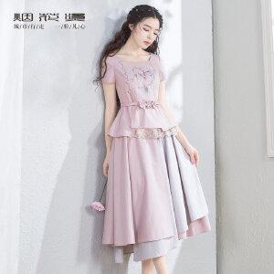 烟花烫  2018夏新款女装气质绣花腰带上衣+半身裙套装 枕香成梦