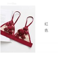 法式Bralette浪漫复古刺绣性感半透明无钢圈文胸套装胸罩 XL 适合85ABC
