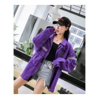 春秋新款学生中长款工装夹克外套女紫色飞行夹克上衣港风帅气紫色 紫色