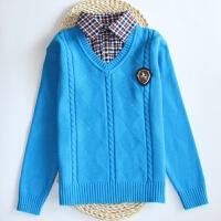 男童款纯棉加厚毛衣衬衫领少年儿童线衫男孩10岁15假两件针织衫