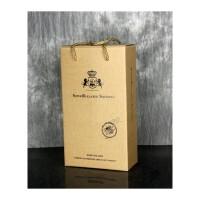 红酒盒子橄榄油礼品包装纸盒手提纸袋子双支葡萄酒盒定制 米杏色 自带卡口