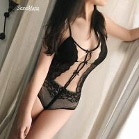 路西法镂空蕾丝性感内衣闺蜜装露背连体睡衣 M