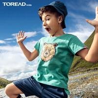 探路者童装 春夏户外双面亮片绣花男童短袖T恤QAJI83014