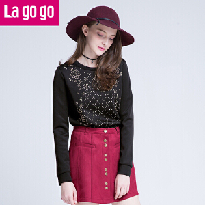 lagogo拉谷谷卫衣潮女中长袖款文艺打底衫冬上衣