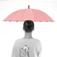商务加固防风个性创意潮流学生超大号双人长柄自动雨伞男定制logo 皮粉色 16骨单人自动