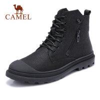 camel骆驼男鞋 秋季新款时尚运动休闲鞋皮质高帮靴子潮流休闲靴