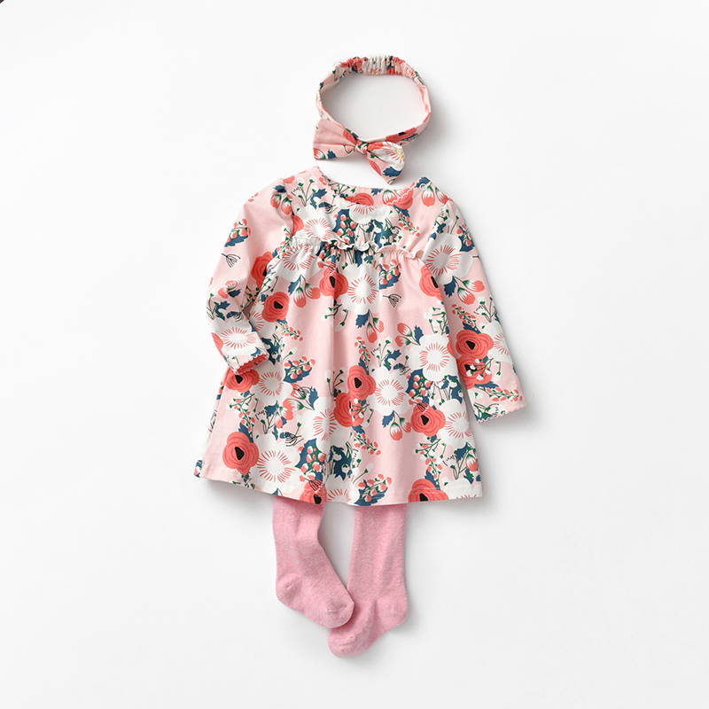 【开学季1件3折:39.4元】罗町2020春款连衣裙套装樱花印花宝宝外出配头饰连衣裙三件套