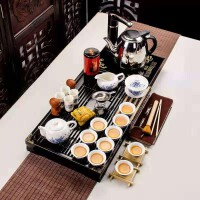 青花白瓷小兰香二合一套装功夫茶具套装家用整套简约实木茶盘茶壶