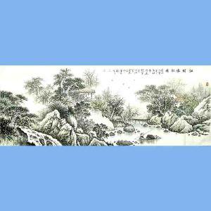 中国美术协会会员,广西省美术家协会理事,国家一级美术师蒋清(山村渔乐图)