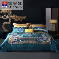 富安娜100支长绒棉四件套纯棉全棉床单 抗菌被套床上用品套件1.8m