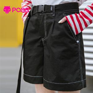 PASS日系潮牌2018新款夏装黑色短裤女直筒宽松学生百搭休闲五分裤