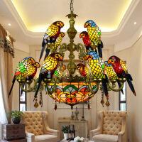 照明吊灯客厅灯双层欧式复古双层蒂凡尼彩色玻璃鹦鹉吊灯田园客厅酒吧别墅多