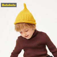 巴拉巴拉宝宝帽子男1-3岁潮儿童保暖帽针织毛线帽女童纯棉奶嘴帽