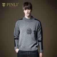 PINLI品立2020秋季新款男装绣花套头针织衫毛衣上衣潮B204110235