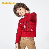 巴拉巴拉男童打底衫儿童毛衣男童春装纯棉假两件休闲套头针织衫男