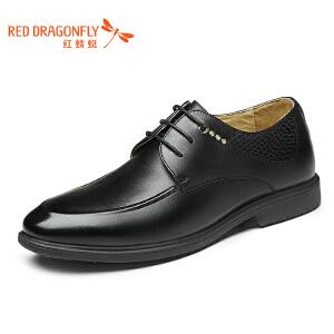 红蜻蜓皮鞋2017年春季新款商务正装男鞋系带低帮鞋真皮正品男单鞋