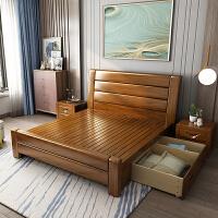 现代中式简约金丝胡桃木实木床1.8米1.5高箱抽屉储物主卧双人婚床