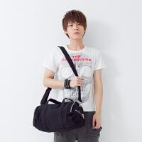 吉野新款韩版男包包帆布包包休闲男士包包单肩包斜挎包圆桶包学院风男包大包包2011B2