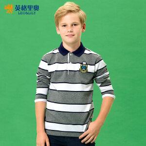 男童长袖T恤儿童翻领polo衫条纹纯棉中大童2018新款秋装上衣体恤