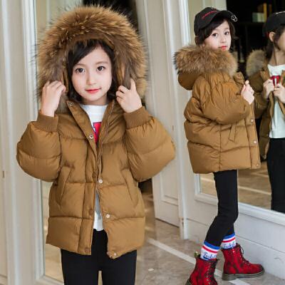 女童棉衣加厚外套装2017新款童装儿童棉袄韩版男童宝宝短款  真毛领 110码 建议110厘米左右 发货周期:一般在付款后2-90天左右发货,具体发货时间请以与客服协商的时间为准