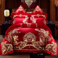 新婚庆床上用品大红色全棉贡缎四件套婚礼喜庆床品六件套结婚被套
