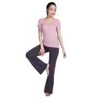 [当当自营]皮尔瑜伽(pieryoga)运动健身服女士瑜伽服 短袖套装舞蹈居家服 53404牛奶粉+63846铅笔灰X