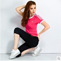 运动服休闲套装大码网球服潮 新款圆领短袖七分裤运动套装女