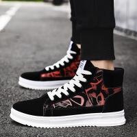 高帮板鞋男鞋时尚韩版潮流涂鸦男士休闲鞋学生黑色运动鞋