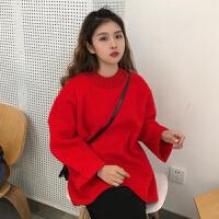 秋冬女装韩版时尚宽松仿水貂绒半高领长袖套头上衣T恤学生打底衫