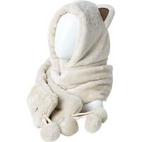 围巾女秋冬季时尚韩版可爱珊瑚绒围脖双层加厚帽子围巾手套一体