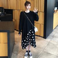 连衣裙 女士圆领波点网红拼接长袖连衣裙2020早秋新款韩版时尚潮流女士宽松洋气女装卫衣裙