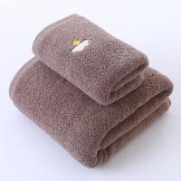 君别大毛巾浴巾女柔软可爱加厚男士吸水浴巾家用情侣套装 天气棕 浴巾+毛巾 140x70cm