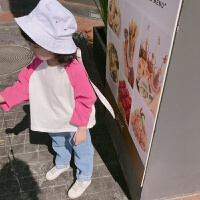 2018春夏款韩版童装男女童宽松插肩袖T恤男女宝宝拼色长袖打底T恤 玫粉色 现货秒发