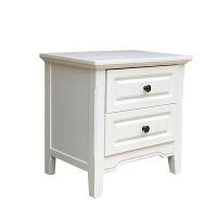 美式乡村简约床头柜白色收纳柜储物床边韩式田园柜地中海卧室家具 象牙白 整装