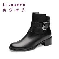 【全场3折】莱尔斯丹 女鞋女靴圆头拉链女短靴靴子8T61247