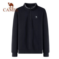camel骆驼男装2018秋冬新款韩版简约时尚宽松外套长袖高领套头卫衣男