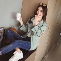 短款外套女2018春季新款韩版显瘦时尚立领宽松上衣喇叭袖夹克开衫 豆绿色 现货