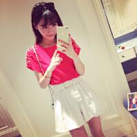 短袖雪纺衫女夏季新款小清新气质珍珠袖T+腰带A字裙韩版显瘦