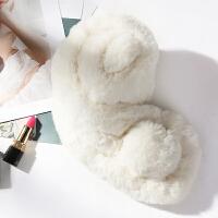 上海故事chic围脖女冬季韩版学生百搭仿 獭兔毛ins粉色围巾少女心 白色 毛球